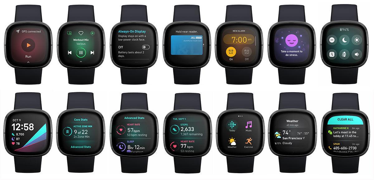 Fitbit Sense screens