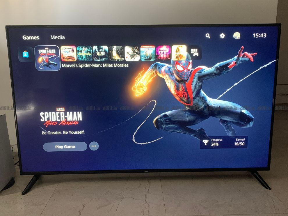 PS5 connected to the Redmi Smart TV X65.