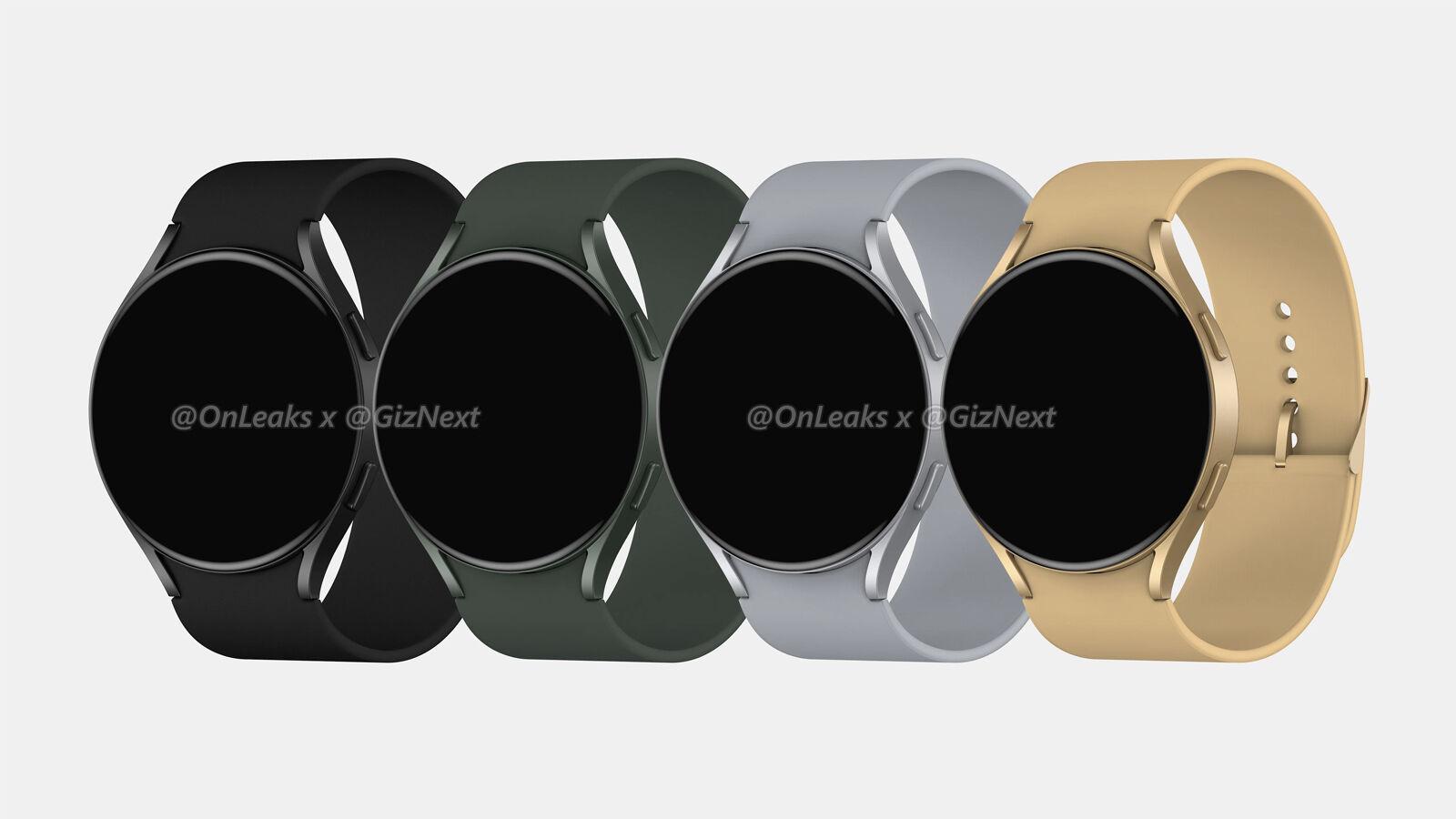 Samsung Galaxy Watch 4 Active renders filtrados |  Fuente: GizNext y OnLeaks