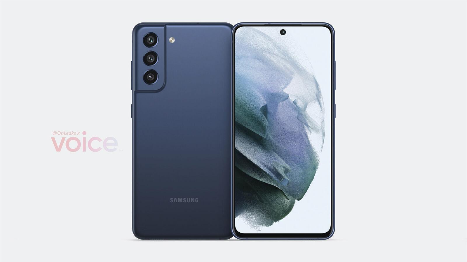 Samsung Galaxy S21 FE fuente de renderizado con filtración plana OnLeaks