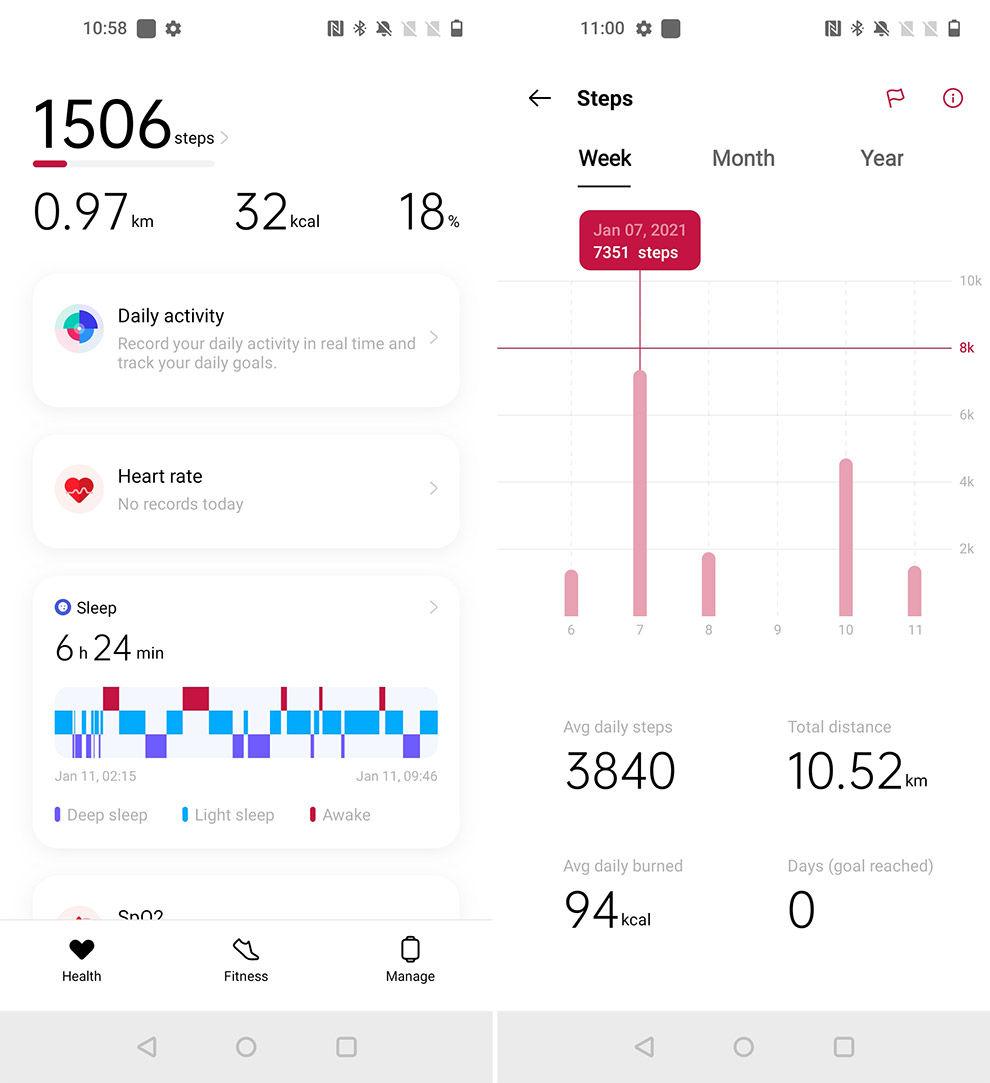 La aplicación OnePlus Health necesita más trabajo para que sea intuitiva y fácil de usar.
