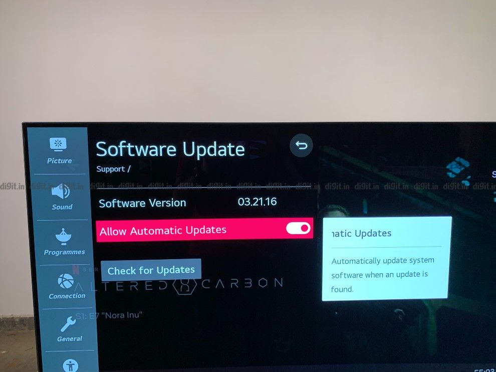 El LG CX recibe actualizaciones por aire.