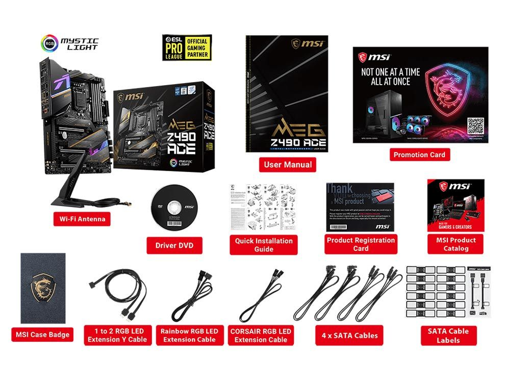 MSI MEG Z490 ACE Motherboard package contents components