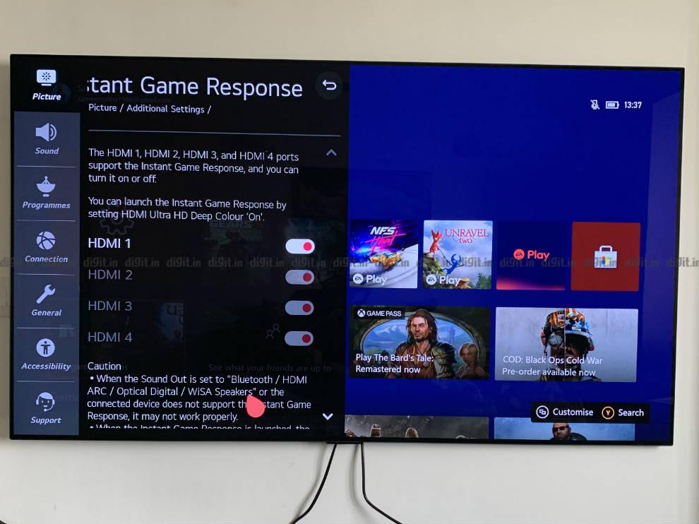 Puede activar el modo de juego en puertos HDMI seleccionados o en todos los puertos del LG GX.