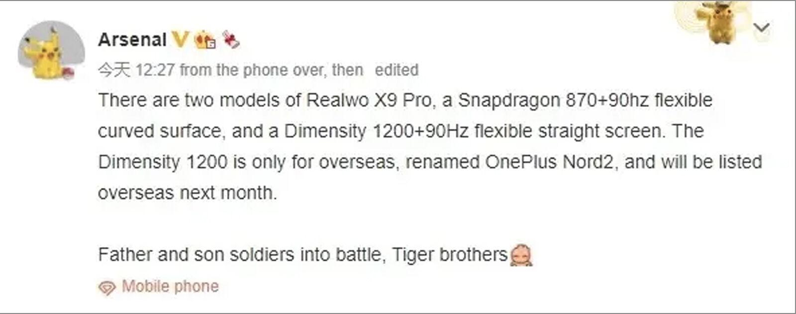 Fuga del Arsenal Weibo Realme X9 Pro OnePlus Nord 2