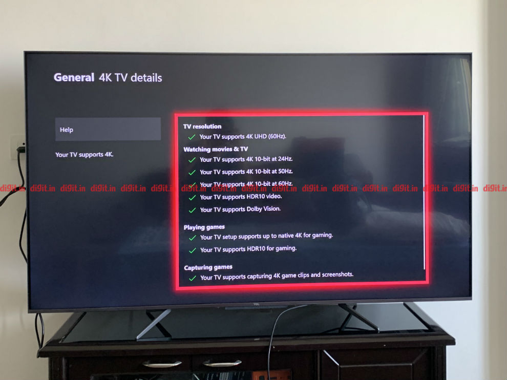 The TCL TV can play games in 4K and HDR.