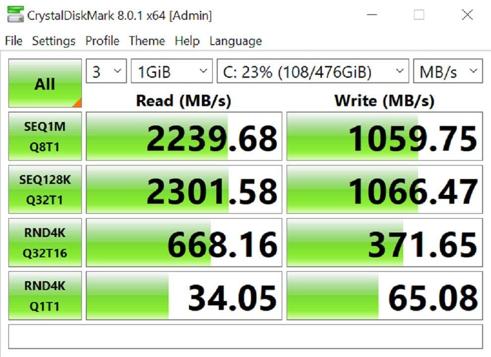 HP Pavilion 13 storage performance.