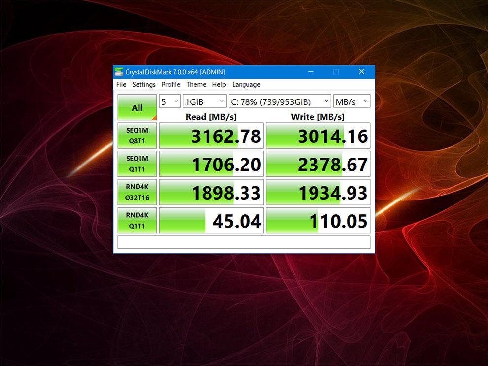 The HP Omen 15's internal SSD has some pretty fast read/write speeds