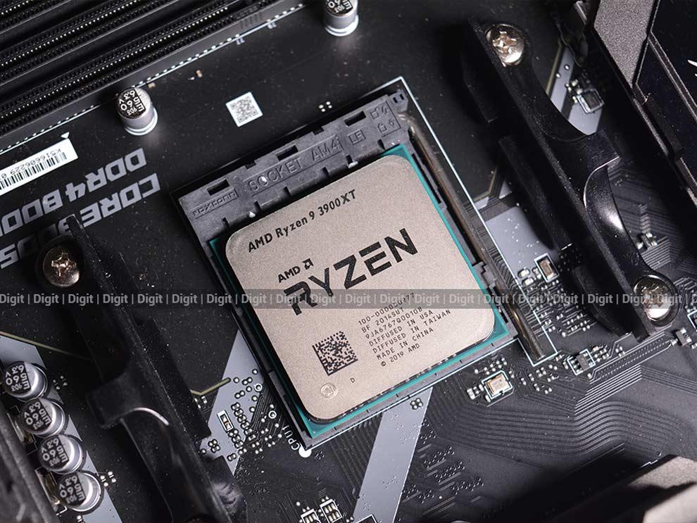 Placa base de revisión del procesador de escritorio AMD Ryzen 9 3900XT