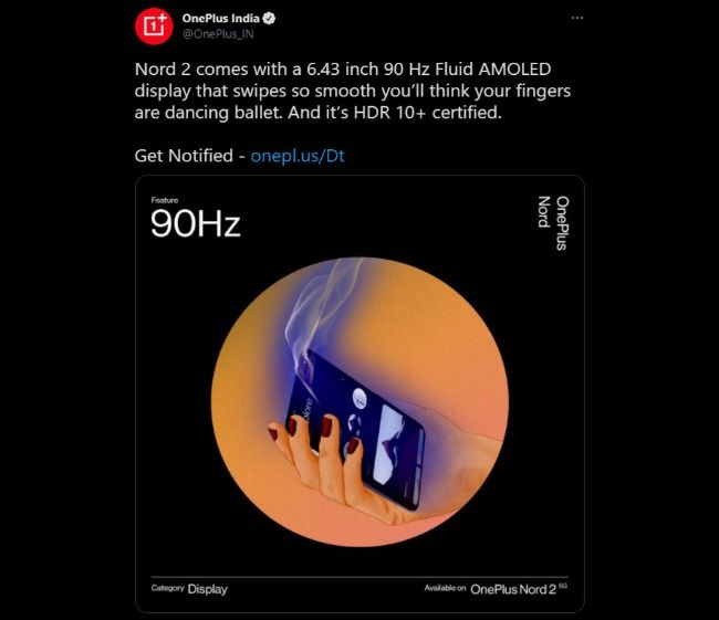 Fuga de especificaciones de pantalla de OnePlus Nord 2
