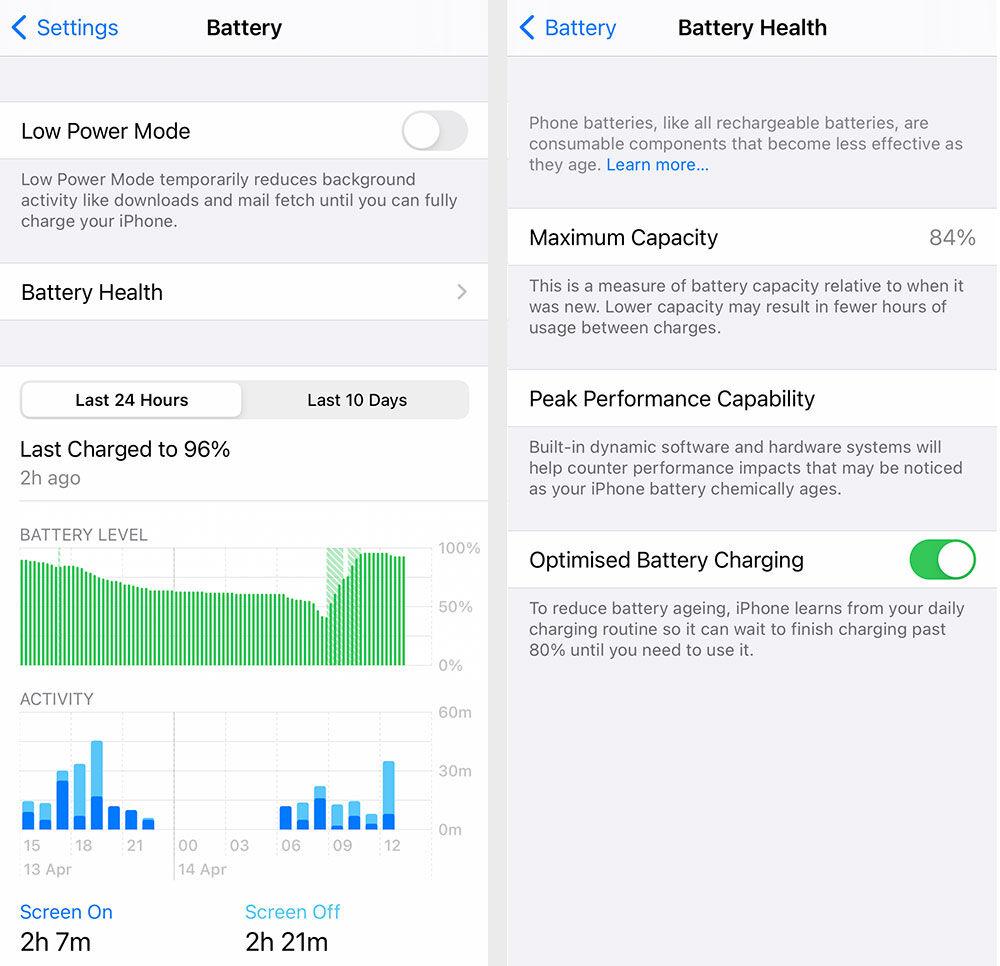 Configuración de la batería iPhone