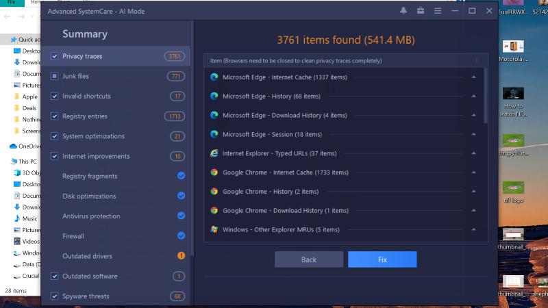 Rastreos de privacidad de IObit Advanced SystemCare 14 Pro