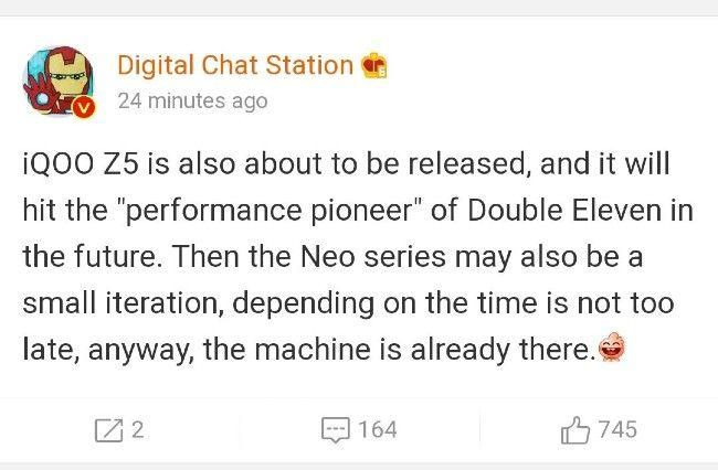 Tweet sobre el lanzamiento de iQOO 8 y Z5